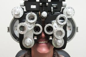 patient having eyes examined