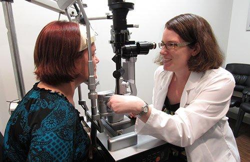 eye examination being done by Dr. Sara Langer