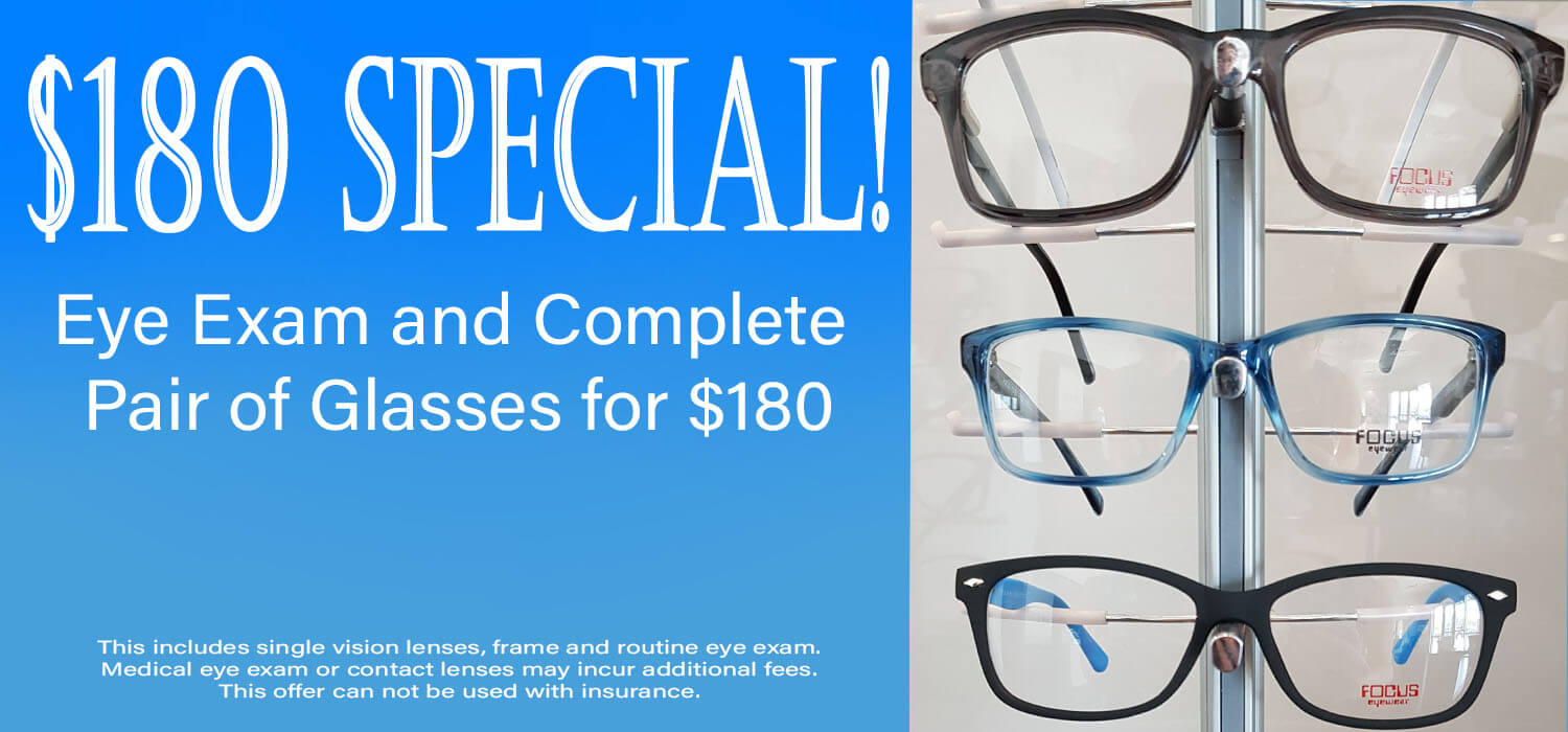Special on eye exams and glasses