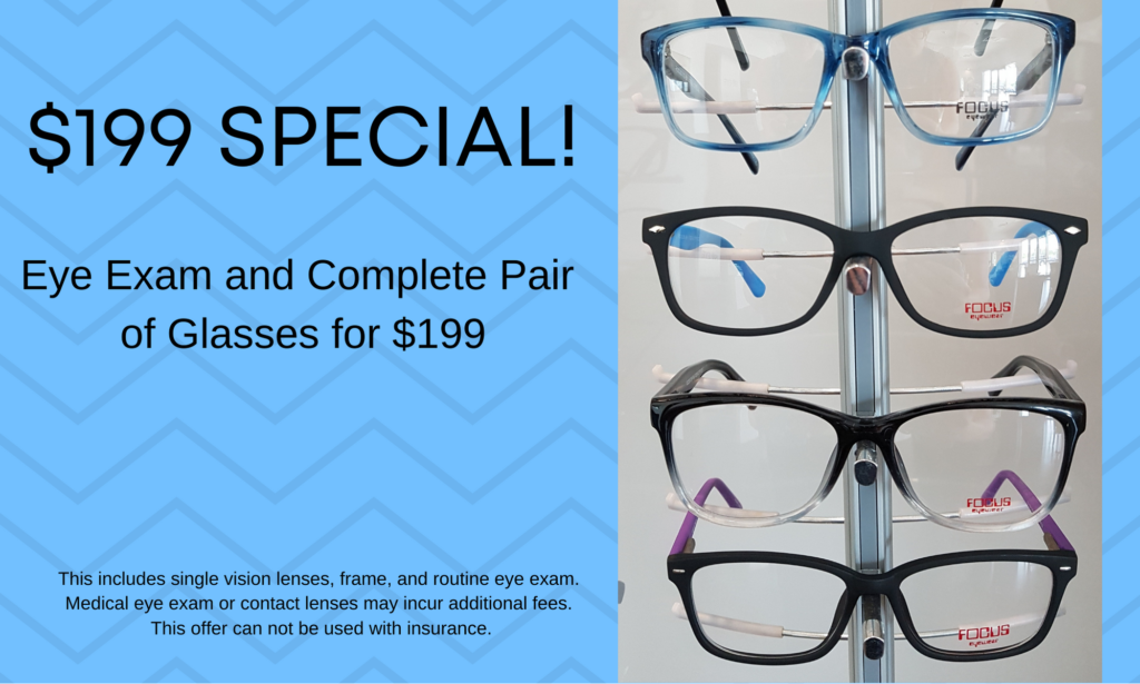 Image depicting 512 Eye's $199 special: eye exam and complete pair of glasses for $199