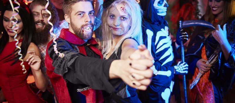 People dancing at Halloween party